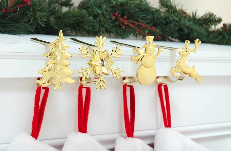 Stocking hangers mantle hooks christmas holders