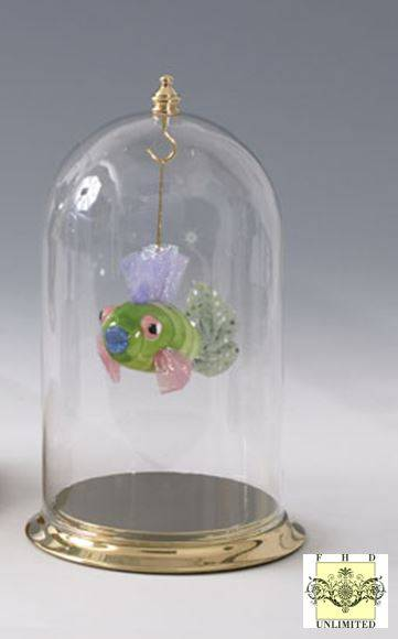 Ornament display glass dome with top hook knob quot