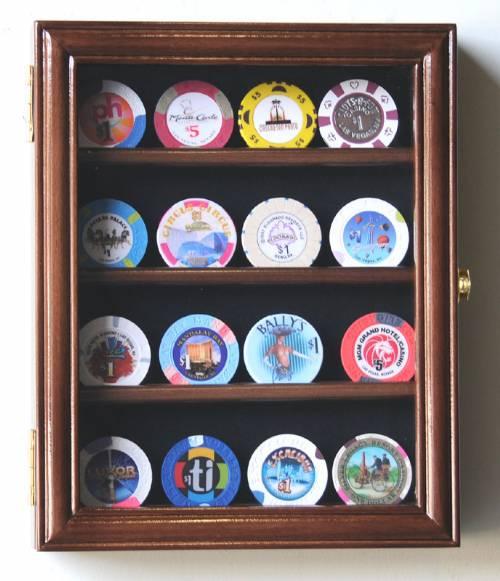 Collectibles Display Case Casino Chip Four Row Curio