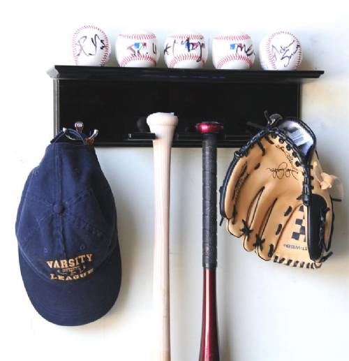 display cases baseball bat bat hat rack