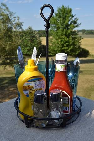 Table Caddy Wrought Iron Utensil Amp Condiment Holder