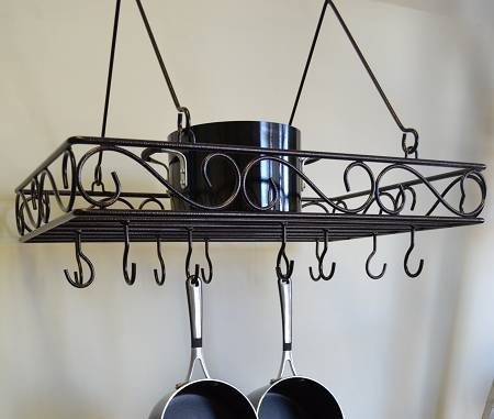 Pot & Pan Rack - Hanging Victorian Design with Shelf & Hooks