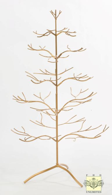 Ornament display tree silver or gold natural