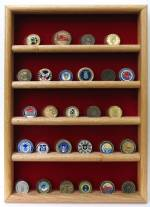 Coin Display Case - Five Row Solid Wood