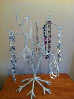Ornament Trees -  Small Silver Beaded