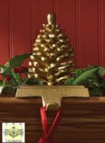 Stocking Holders - Pine Cone - Gold