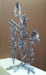 Jewelry Display Tree - Silver Twig Spiral Design