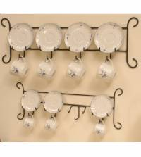 Cup and Saucer Hanger - Iron Horizontal 4 Place