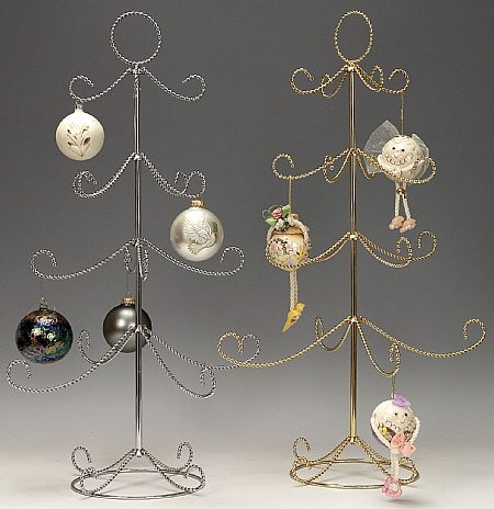 Ornament Trees - Twisted Four Tier Display - Silver - set of 4