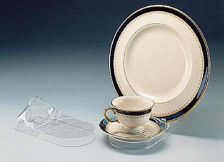 Cup and Saucer Plate Displays - 3 Piece Setting - 12 pack