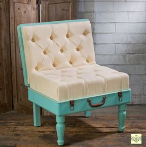 Display Side Chair - Shabby Chic Padded Suitcase