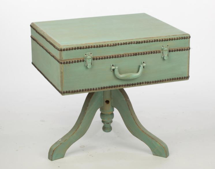 Side Table - Suitcase Table with Hinged Lid
