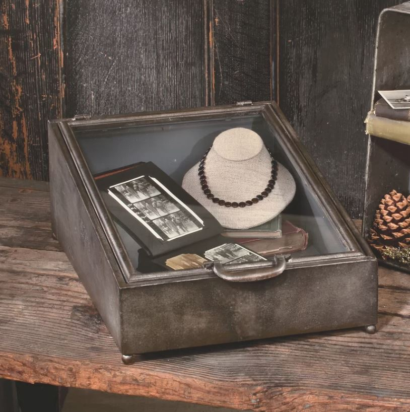 Shadow Box Case - Tin Display Case with Glass Lid