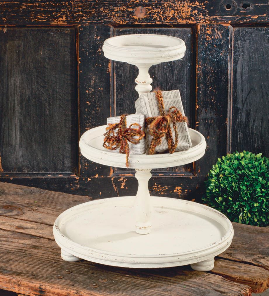 Display Risers - Three Tier Wooden Tray Stand