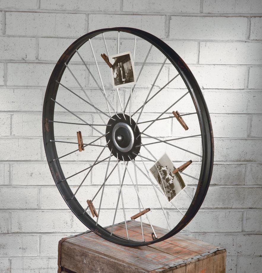 Photo & Card Holder - Bicycle Wheel with Clothespins