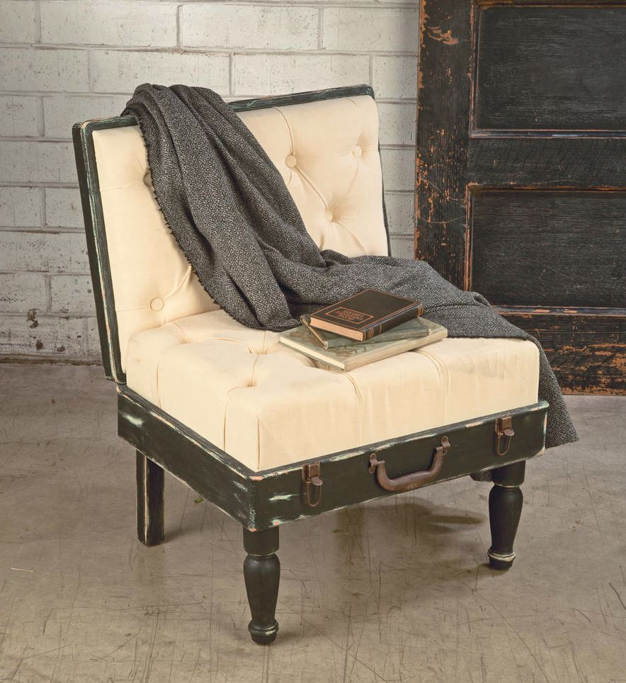 Display Side Chair - Black & Cream Suitcase Chair