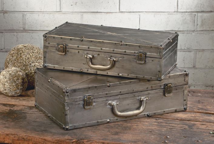Display Risers - Gunmetal Industrial Suitcase Set