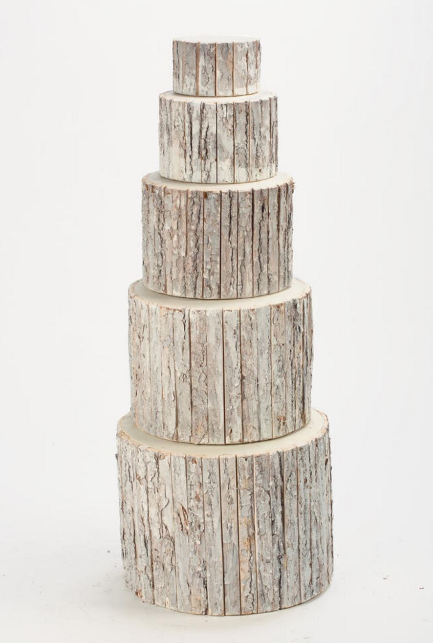 Display Risers - Whitewash Bark Wrapped - Set of 5