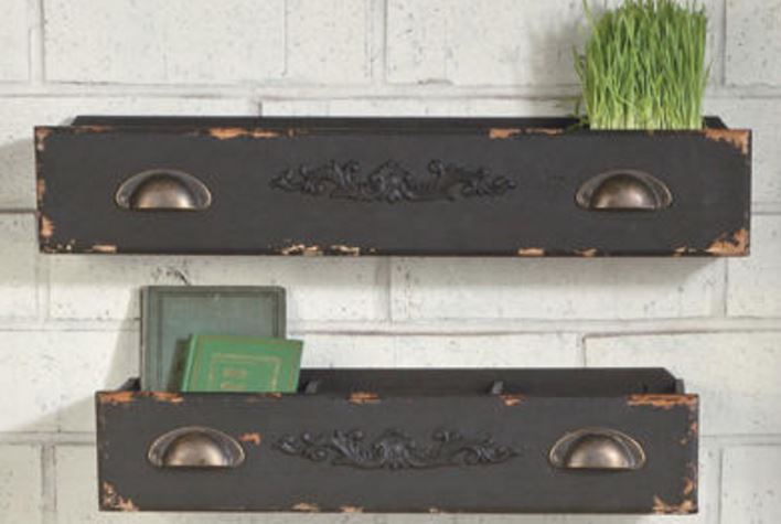 Display Shelves - Black Wooden Drawers Set