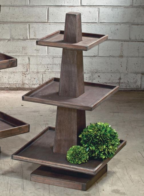 Display Stand - Three Tier Rustic Wood