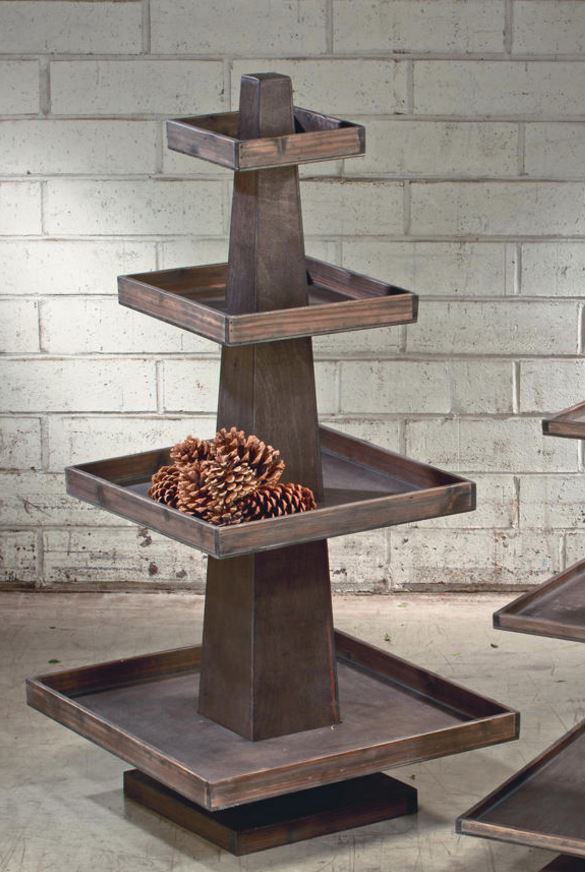 Display Stand - Four Tier Rustic Wood