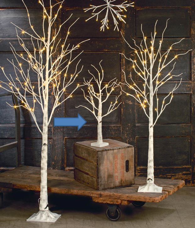 Display Tree - Small Lighted White Birch- Set of 3, 4 or 5