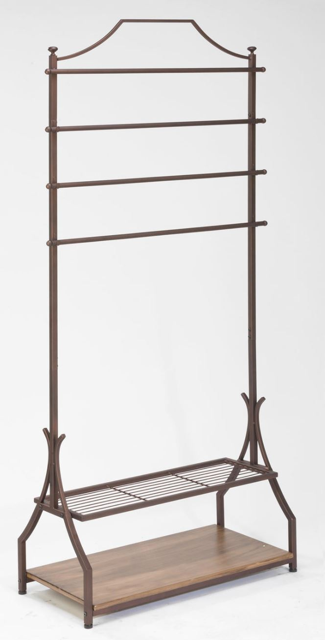 Clothing Rack - Bronze Metal Rack with Wood Veneer Base