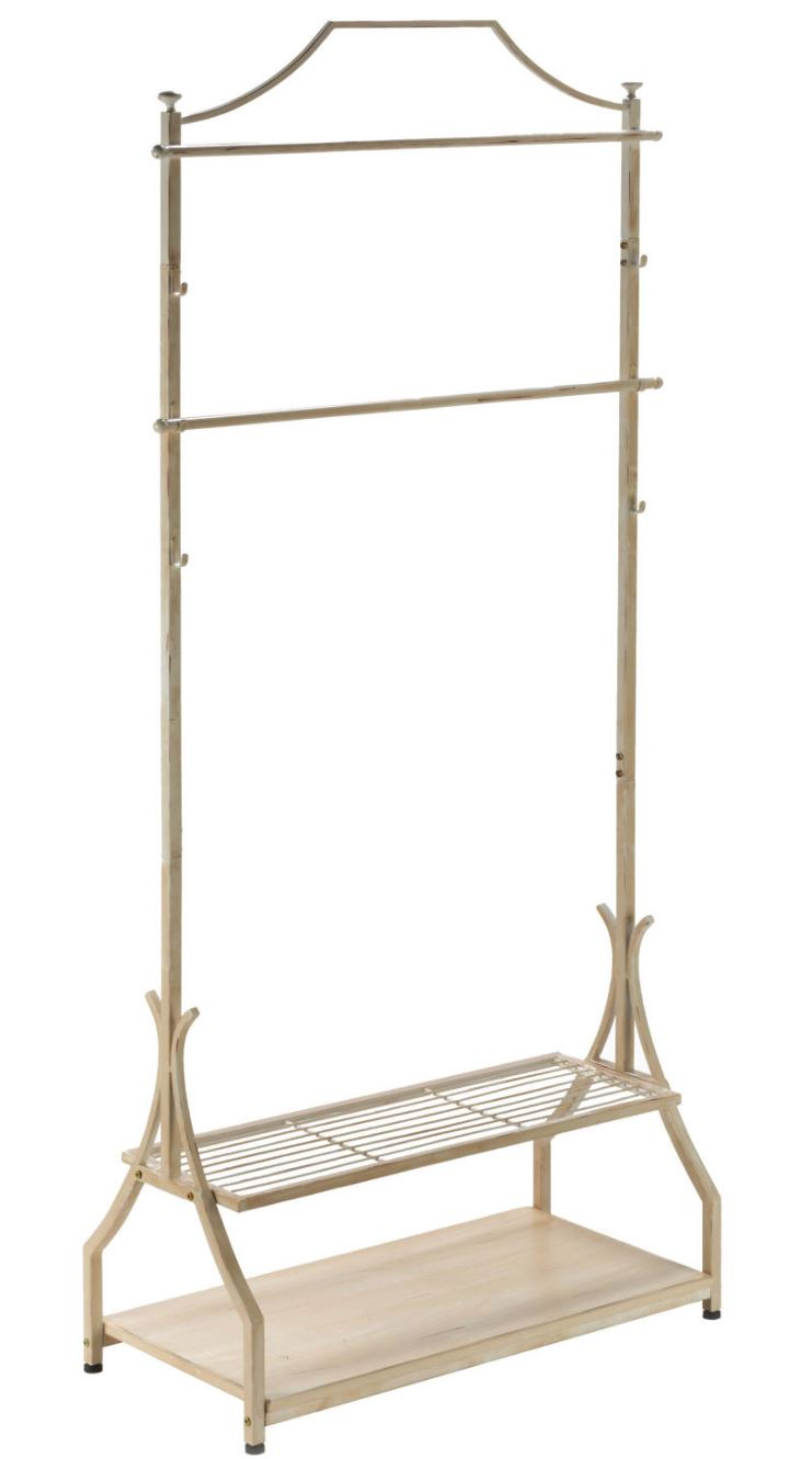 Clothing Rack - Cream Metal Rack with Wood Veneer Base