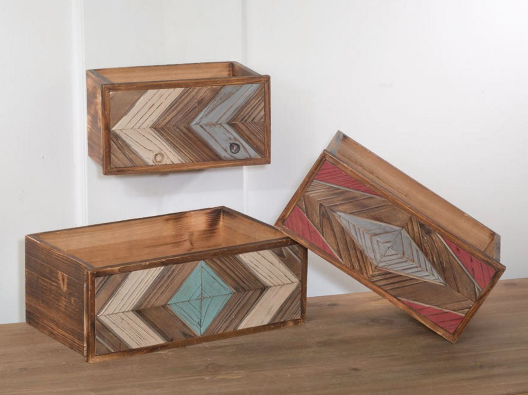 Display Risers - Distressed Wood Drawer Set