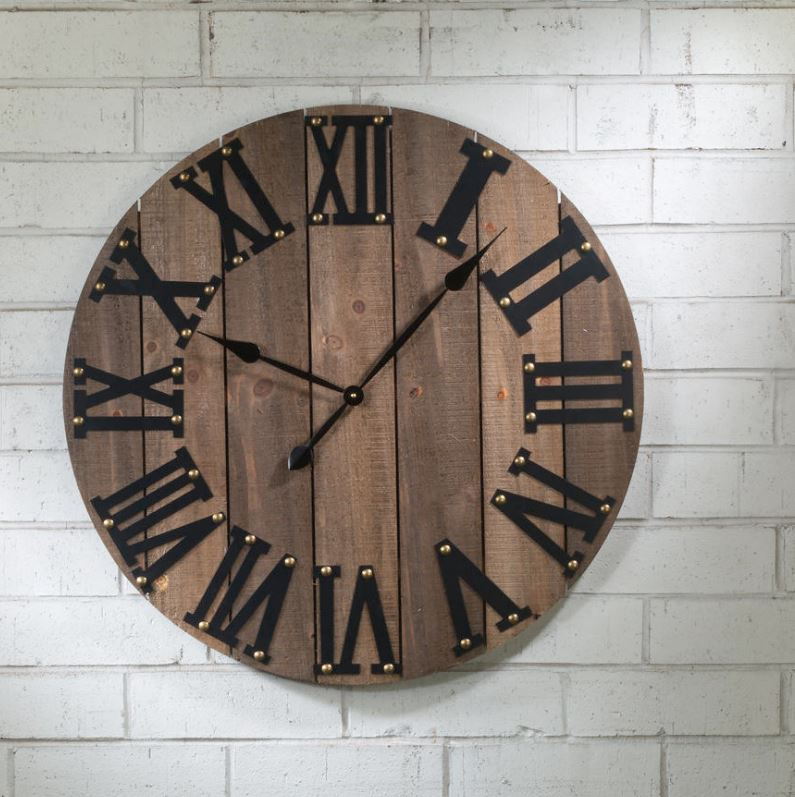 Wall Art - Industrial Wood Wall Clock