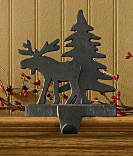 stocking holders moose with tree - Moose Christmas Stocking