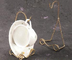 Cup and Saucer Stands - Victorian Twisted Brass - Set of 12