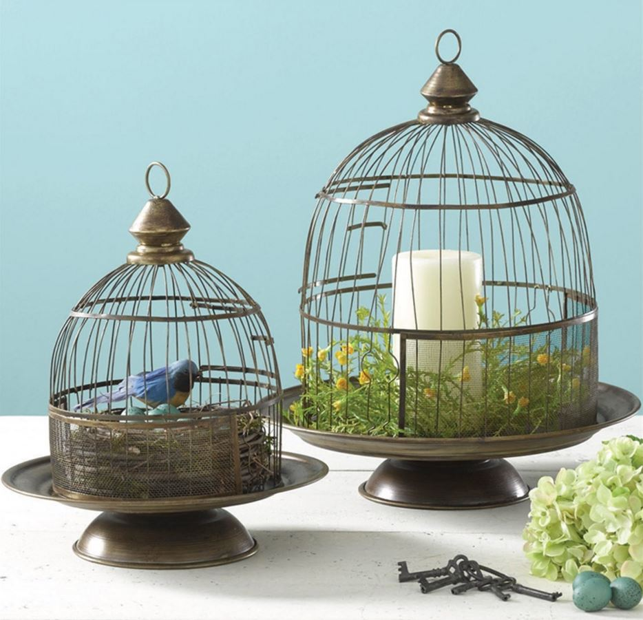 Cloches - Wire Bird Cage Set with Pedestal Bases