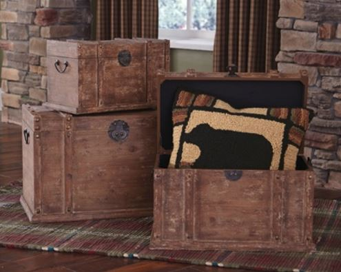 Wood Trunks - Set of Three Distressed Wood