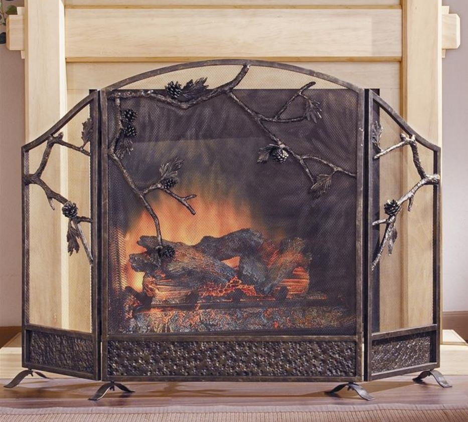 Fireplace Screen - Rustic Pinecone