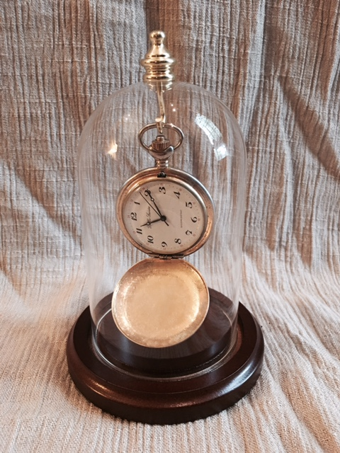 "Glass Pocket Watch Dome -  Top Hook & Knob 3"" x 5"""