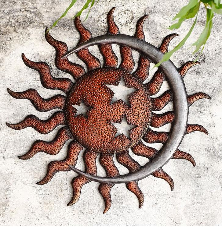 Garden Wall Plaque - Sun, Moon & Stars