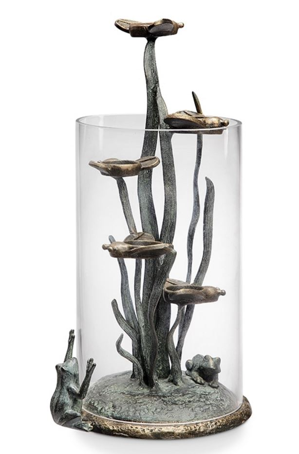 Candle Holder - Frogs & Fireflies Hurricane