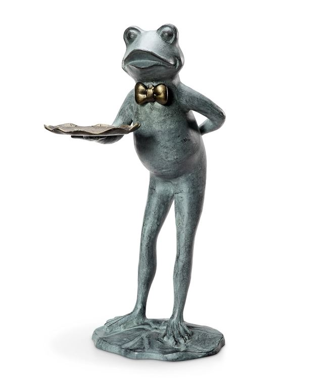 Lantern Sculpture - Frog Butler with Tray