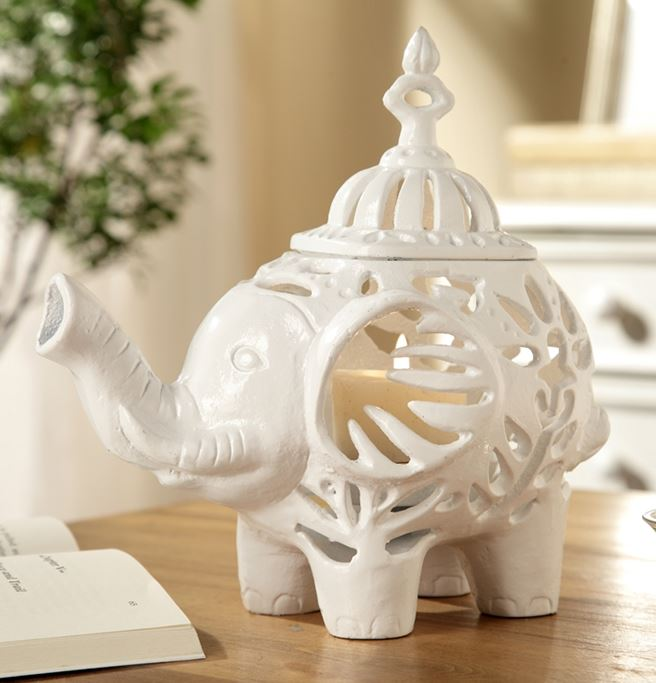 Candle Holders - Pair of Happy White Elephant