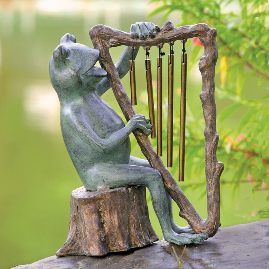 Garden Sculpture - Frog with Harp Windchime