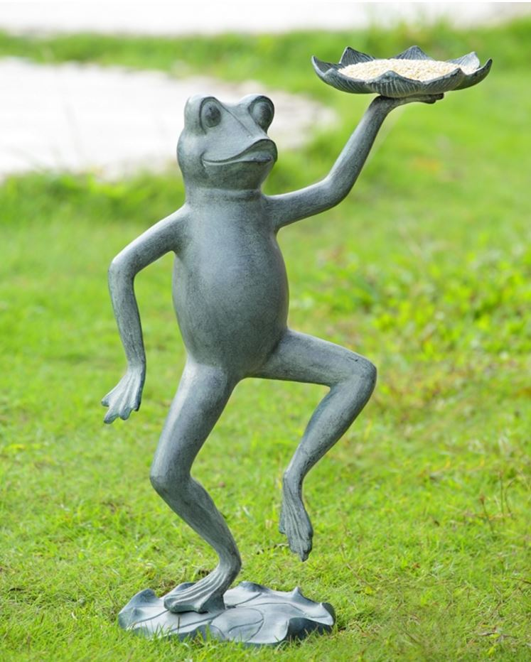 Bird Feeder Sculpture - Dancing Frog with Lillypad