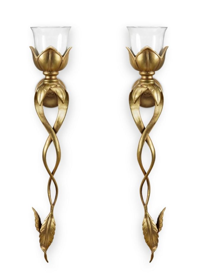Candle Holders - Gilded Leaf and Blossom Sconces