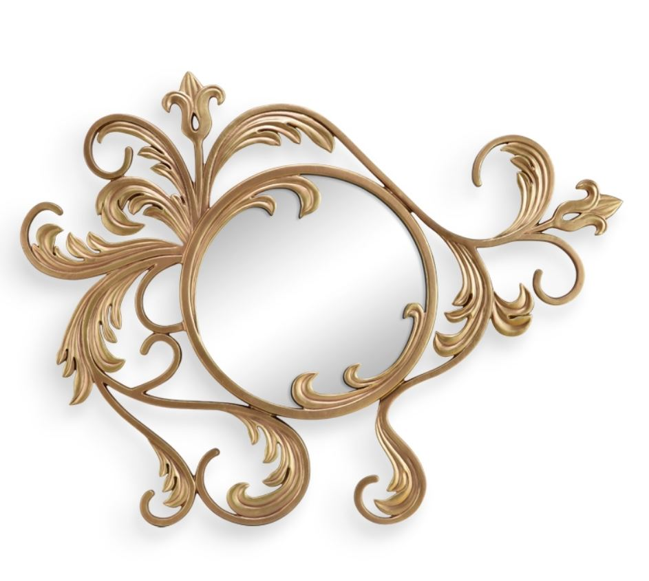 Wall Mirror - Gilded Leaf and Blossom Design