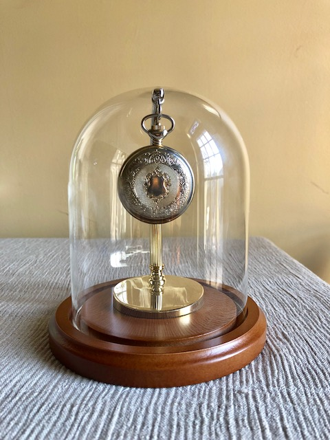 "Pocket Watch Display Dome - 4-1/2"" x 8"" with Brass Half Arch Stand"