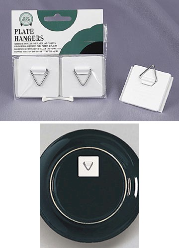 Plate Holders - Self Stick Adhesive Plate Hangers - Set of 2