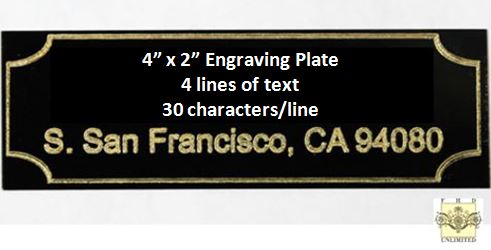 "Engraving Plate - Gold Lettering on Black Plate 4"" x 2"""
