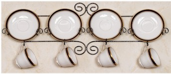 Cup and Saucer Racks and Rails - Wrought Iron - Set of 2