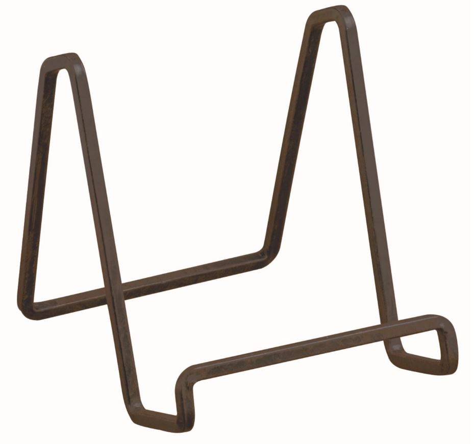 Plate Easels Mahogany Square Wire Set Of 12