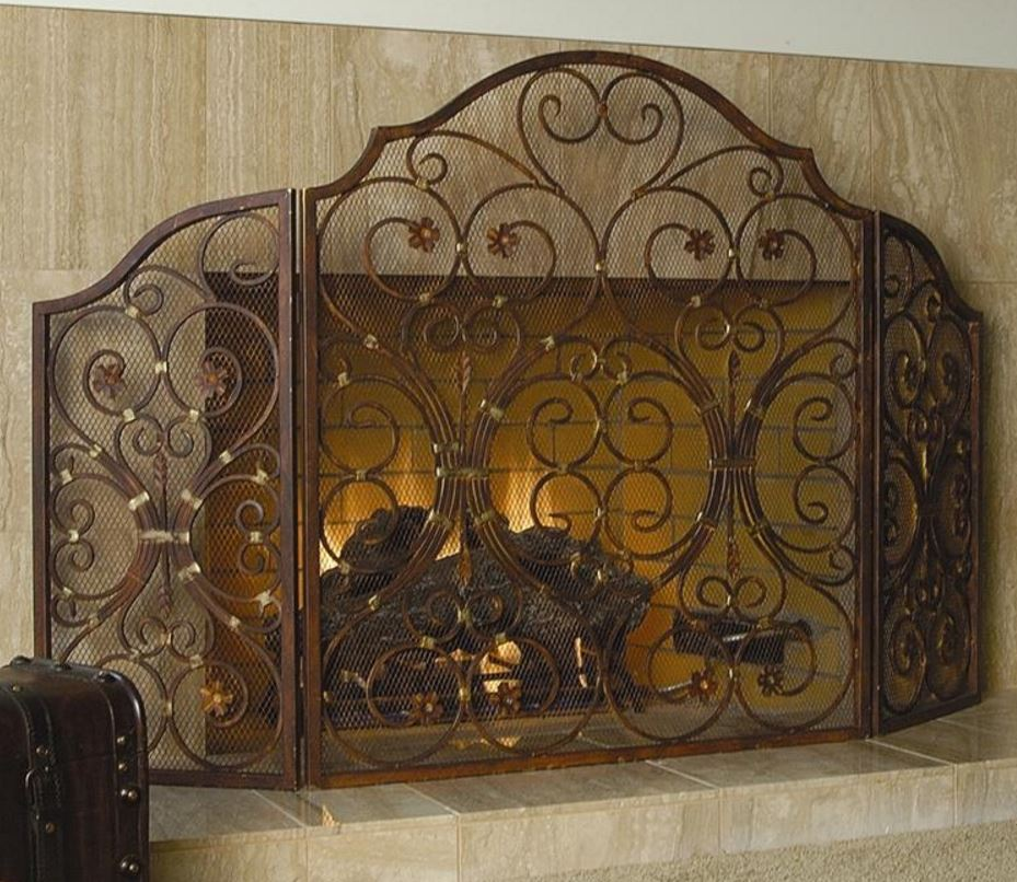 Fireplace Screen - Provincial Triple Panel